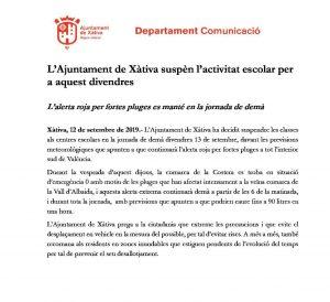 Comunicat Ajuntament de Xàtiva